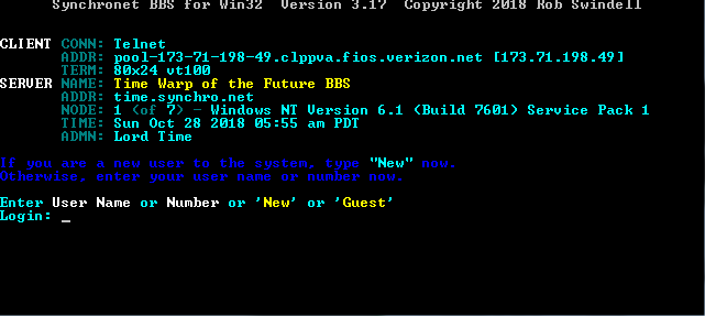 Time Warp of Future | Telnet BBS Guide