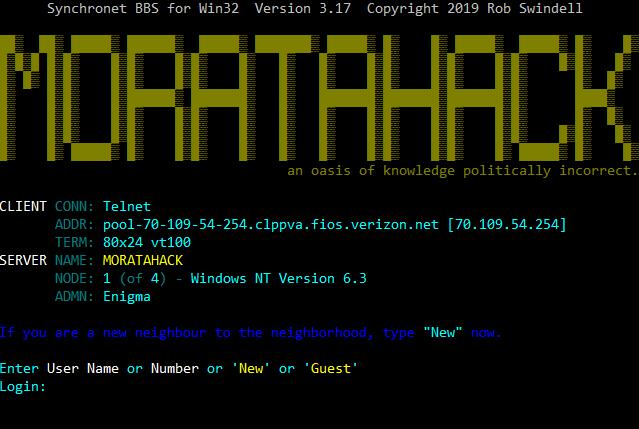 MORATAHACK   Telnet BBS Guide
