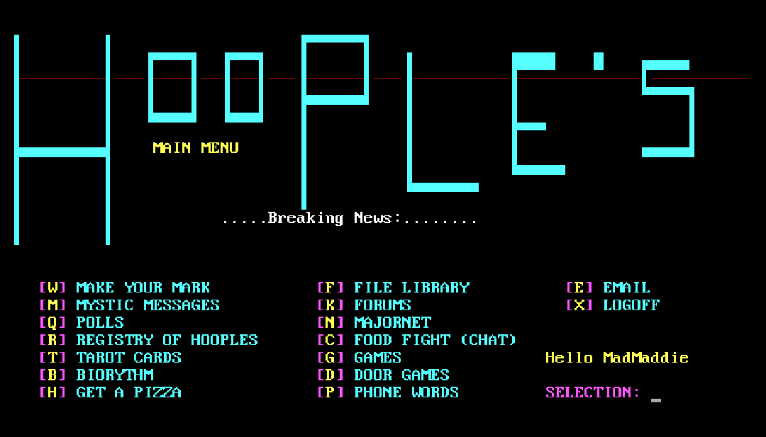 hooples main menu